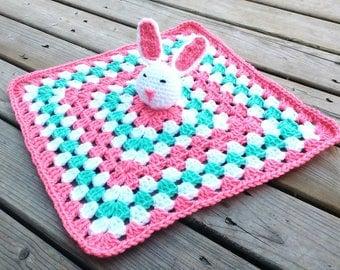 Bunny Lovey Blanket - Baby bunny Snuggle Blanket - Crochet Lovey Blanket - Crochet Snuggle Blanket - pink nursery - Bunny nursery gift
