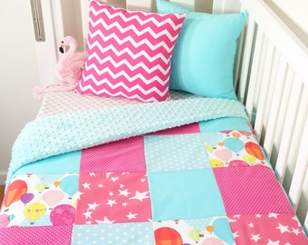 Pink and aqua hot air balloon patchwork nursery items