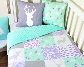 Mint, purple and grey deer patchwork nursery items (Mint minky quilt backing)
