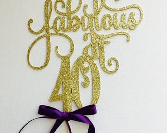 40th cake topper - gold - cake topper - forty cake topper #1017