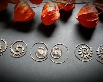 spiral earrings in brass