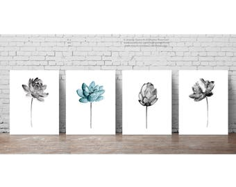 Lotus Watercolour Painting set 4 Lotuses Living Room Decor, Charcoal Gray Flower Minimalist Floral Art Print, Teal Flower Meditation Poster
