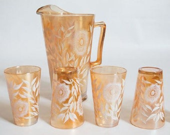 5 Piece Jeannette Cosmos Marigold Carnival Glass Beverage Pitcher and Glasses