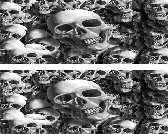 Black & White Halloween Skulls - Designer Strips - Edible Cake Side Toppers- Decorate The Sides of Your Cake! - D22387