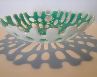 FREE SHIPPING - Teal & White Fused Glass Coral Bowl