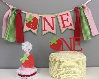Ultimate cake smash package, strawberry, strawberry birthday, first birthday, girls birthday hat, cake topper, high chair banner, outfit