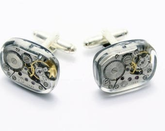 Steampunk cufflinks with watch movements on silver blanks