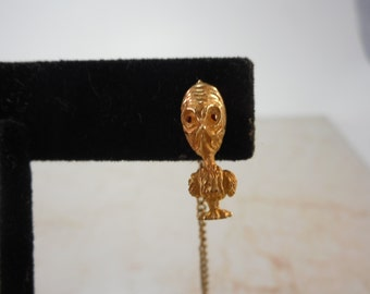 Vintage Whimsical 14k Tie Tack Pin ,Stressed Bird