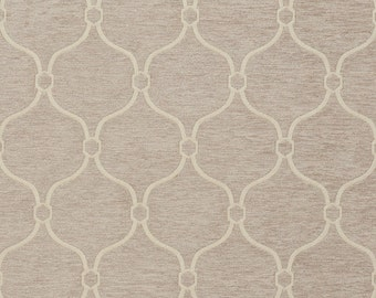 Taupe Woven Trellis Chenille Upholstery Fabric By The Yard | Pattern # B0830C