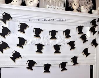 Graduation cap garland, graduation party decorations, graduation decorations, boys graduation, 2017 graduation banner, cap and tassel decor