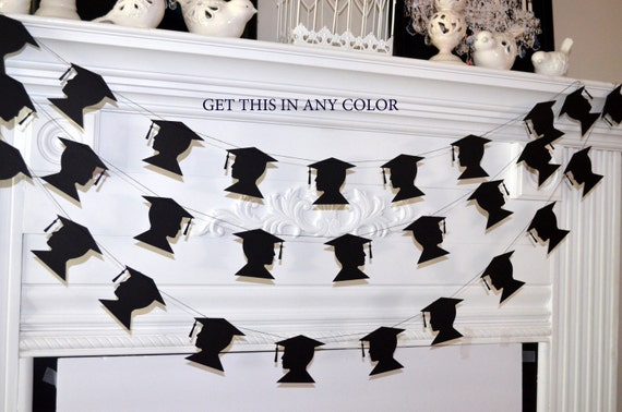 graduation cap garland, graduation party decorations, graduation