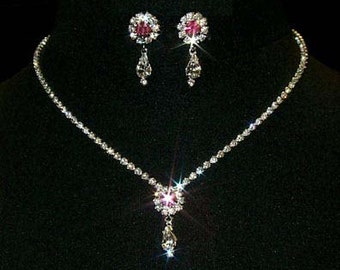Style # 12924 -Rose Rosette Pear Drop Necklace and Earring Set