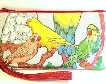 Wristlet Bag, Recycled Bird Wristlet, Upcycled Handbags, Recycled Purse, Recycled Wristlet, Bird Handbags, Recycled Handbags