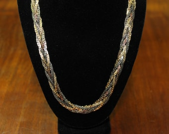 1980's Metal Necklace Braided with Gold, Silver, Copper Tones
