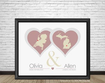 Long Distance Relationship, Love Hearts, Long Distance Dating, Long Distance Love, Distance Relationship, Dating Gifts, Couples, Art Prints