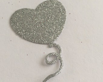 20 die cut balloons - silver glitter