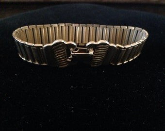 """Watch link style vintage gold toned metal link  bracelet!  7"""""""