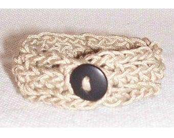 Brown Cotton Crochet Bracelet Handmade Taupe Brown Button Up Bracelet For Her Hippie Boho Chic Jewelry Friendship Fashion Statement