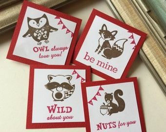 Classroom Valentine's Day exchange Card   Owl Fox Raccoon Squirrel Animal Critter Mini Cards Woodland Friends Favor Gift Tags Red Valentine