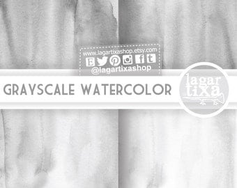 Digital Paper Watercolor Pattern Grey Gray, grayscale, black and white Background Blog by Lagartixa