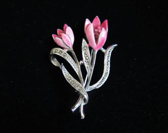 Vintage Pink Tulip Brooch Pin With Cold Painted Enamel and Marcasite 1930's
