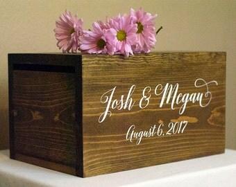 Personalized Wedding Card Box, Boho wedding card box, money box, rustic wedding, rustic card box, wood card box, rustic wedding decor