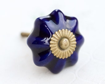 Navy Blue Knob - Drawer Pull - Glazed Ceramics and Brass