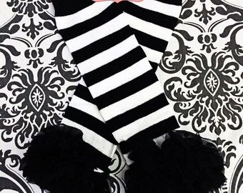 BLACK and WHITE STRIPED Leg Warmers, Black and White Leg Warmers, Baby, Toddler, Girls Leg Warmers, Black Chiffon Ruffle.
