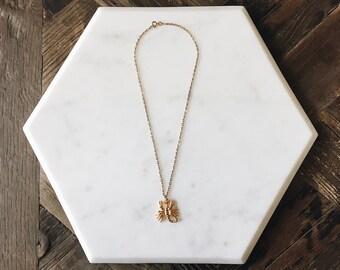 """1980's Dead Stock Vintage Gold Scorpion Pendant Necklace 18"""""""