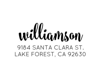 """Personalised Address Stamp, Family Address Stamp, Return Address Stamp, RSVP address Stamp, Custom Address Stamp, Gift, 2.8""""x1"""" (cas88)"""