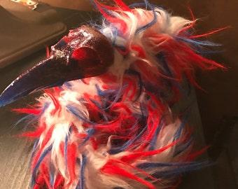 Glitter Red, White, and Blue Raven Skull Art Doll