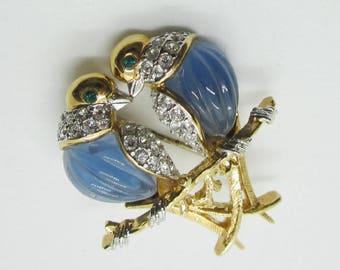 Vintage Jewelry - Figural Lovebird Brooch Pin - Pavé Set Rhinestones