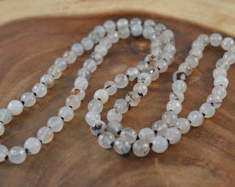 Agate Necklace, Hand Knotted Necklace, Long Beaded Necklace, Faceted Agate, Clear Agate, Statement Necklace