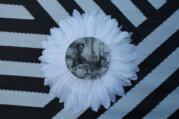 Frida with bambi  Black & White Feathers Round Wall Art, Boho Design,  Timber Porthole