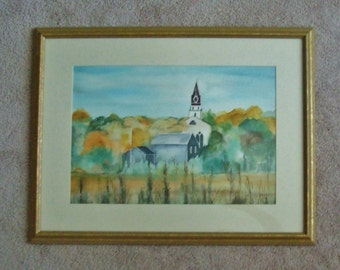 Watercolor Painting New England Church Small Town Scenic Signed