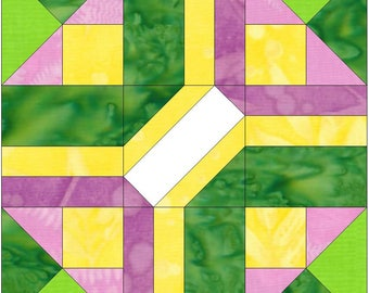 August Autograph 15 Inch Block Paper Template Quilting Block Pattern PDF