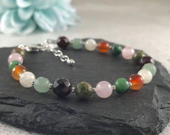 Fertility Bracelet with gemstones symbolising fertility, in sterling silver