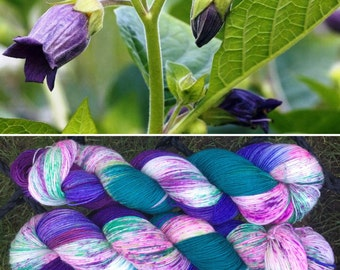 Deadly Nightshade BFL, purple green speckle dyed 75/25 bluefaced leicester nylon sock yarn