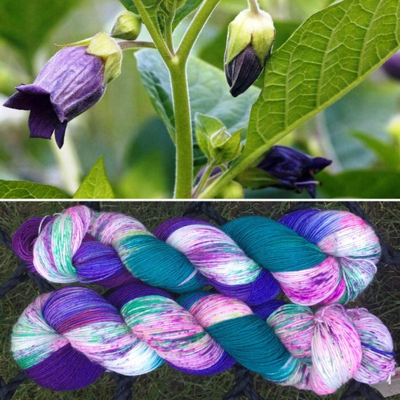 Deadly Nightshade DK, purple green speckle dyed 75/25 merino nylon indie yarn