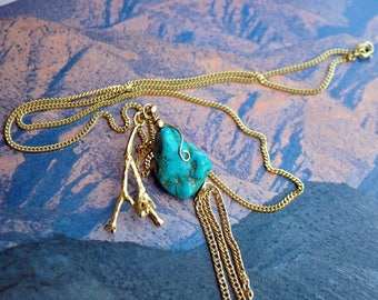 Long necklace pendant genuine turquoise nugget necklace, coral branch and 5 micron gold plated chain