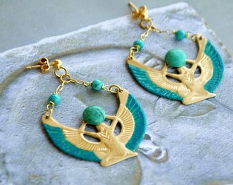 Egyptian Isis, stone Turquoise and gilded brass gold-plated nail earrings