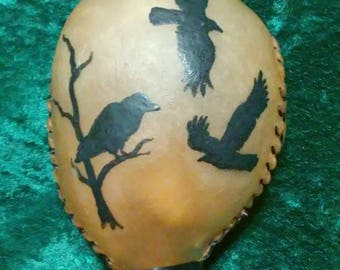Crow Animal Totem Large Round Rawhide Rattle, shamanic rattle, ritual ceremonial rattle, sound healing, meditation, pagan