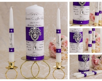 Royal Purple Unity Candle Set, Wedding Unity Candle Set Personalized Ceremony Crystal Unity Candles Set, Crystal Wedding Candle Set