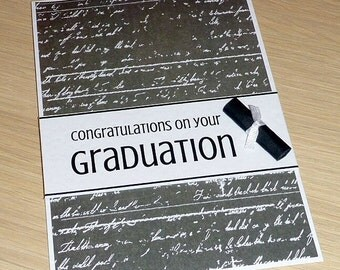 Graduation congratulations card with scroll - student high school university - graduate - handmade greeting card