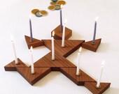 Tangram Hanukkah Menorah, Plafyul and modular, Modern Judaica Menorah, wooden Candleholders, geometric style Jewish wedding gift