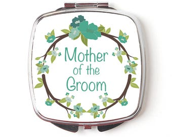 Mother of Groom Compact Mirror - Mother of the Groom Gift - Wedding Compact Mirror