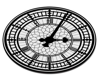 Big Ben Clock Face Circular PC Computer Mouse Mat Pad