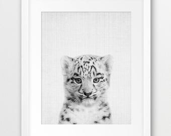 Snow Leopard Print, Nursery Animal Decor, Cub Leopard Print, Mountain Animal Print, Black White Photo, Baby Animal, Kids Room Printable Art