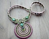 Soutache handmade jewelry. Cord necklace.Handmade statement soutache. Flashy jewelry. Unique gift for her.