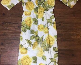 Vintage 50s yellow rose dress